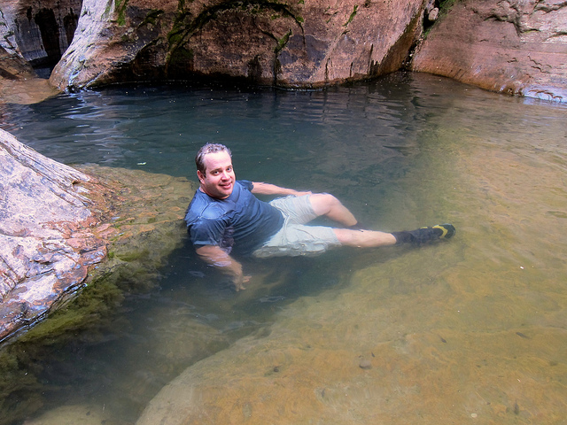 Soaking near the underwater arch