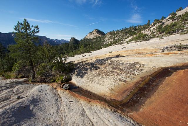 water flowing on sandstone