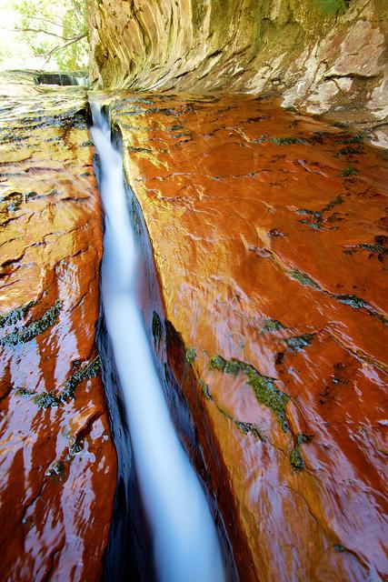 Water flowing in crack