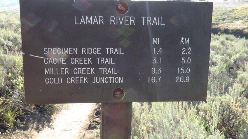 Day 1 A3 Lamar River Trail Marker.JPG