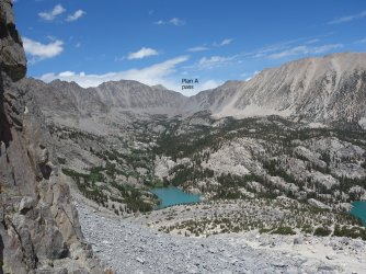 N Fork of Big Pine Creek drainage (with the sketchy chute I decided not to take)