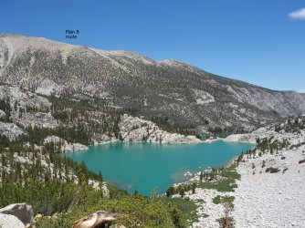 Second Lake with my plan B route over Sky Haven ridge